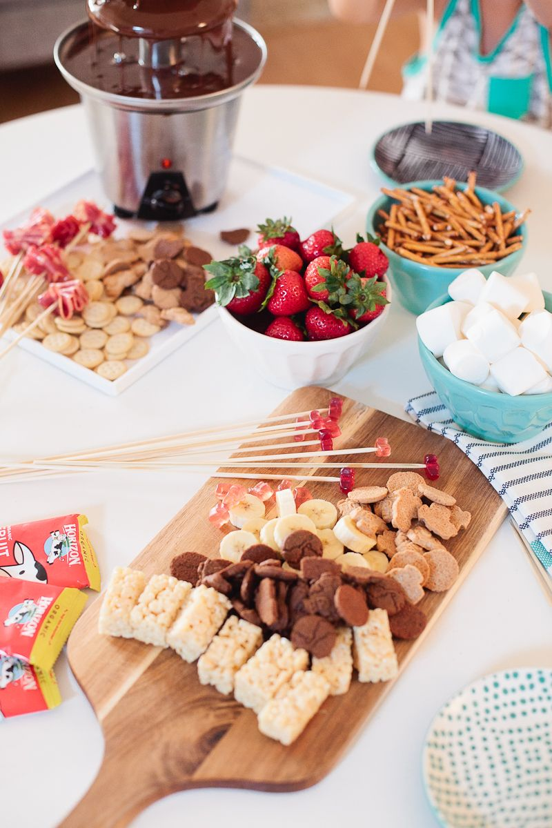 A Simple Kid Friendly Chocolate Fondue Party Chocolate Fondue Bar Fondue Party Fondue Fountain