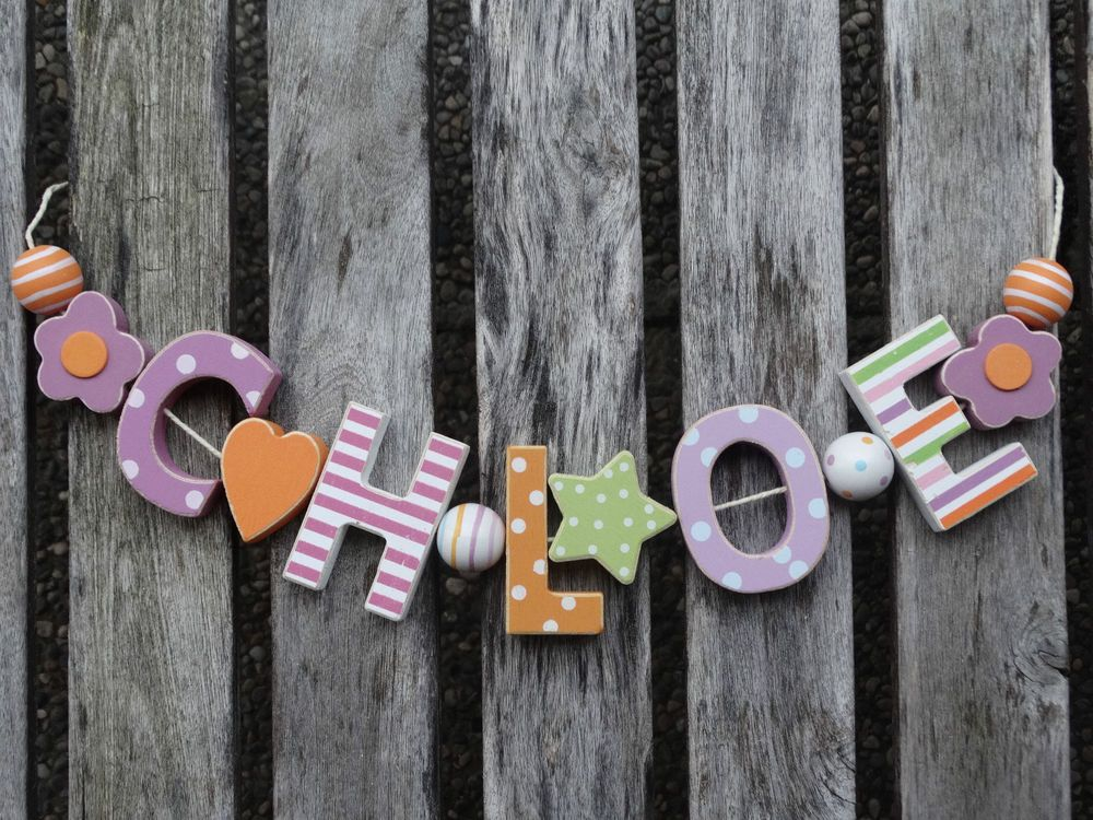 CHLOE WOODEN LETTERS NAME DECORATION PERSONALISED SHABBY