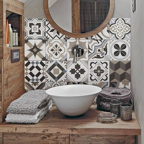 "Photo of PS00089 ""Braga"" PVC tiles for bathroom tiles and kitchen Ceramic decorations various sizes"