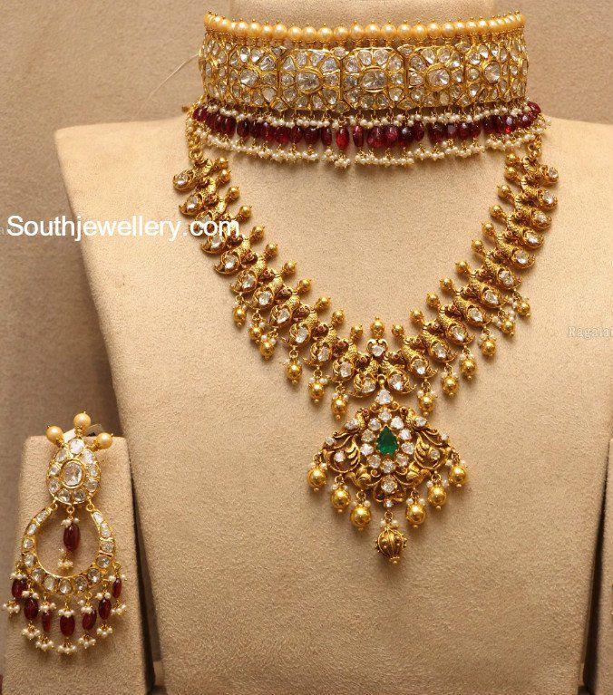 Bridal Diamond Necklace And Haram Set: Flat Diamond Choker Set And Peacock Haram