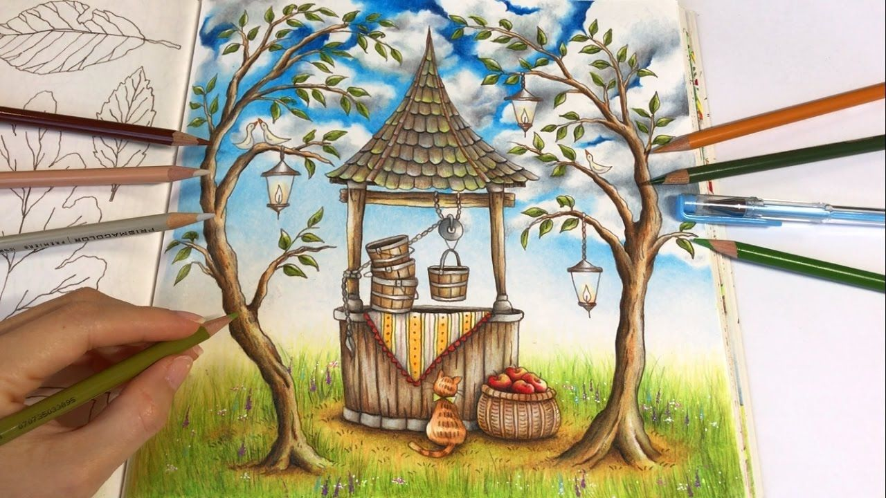 Make A Wish Part 3 Tree And Grass Coloring Romantic Country Colorin Romantic Country Coloring Books Colorful Drawings