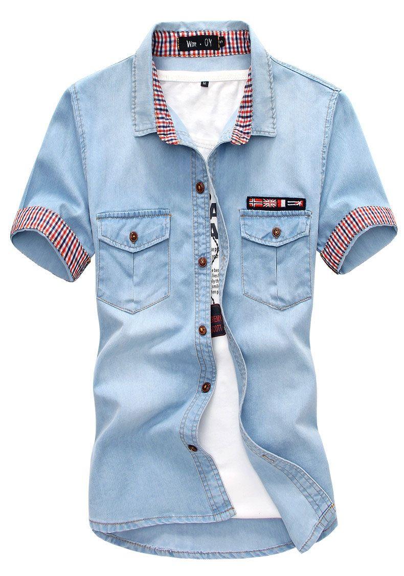 Men Jeans Shirt Cotton Thin Short Sleeve Denim Shirts Men S Single