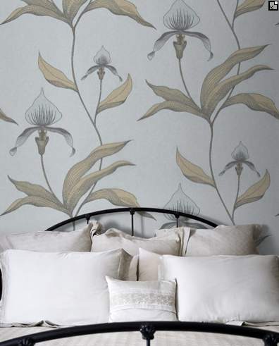 Cole & Son Orchid wallpaper mums bedroom back wall