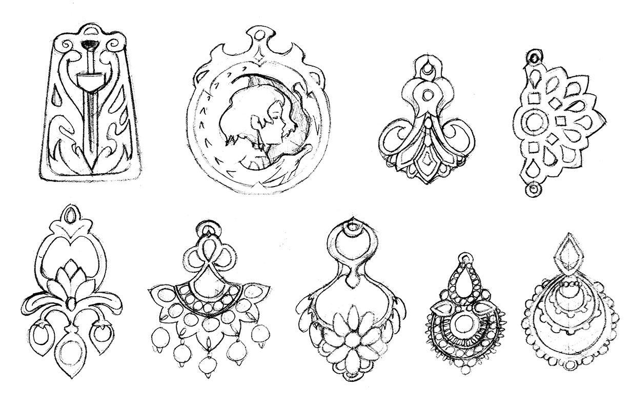 Bijoux Dessin bijoux orientaux #bijou #jewel #dessin #oriental #pendentif   design
