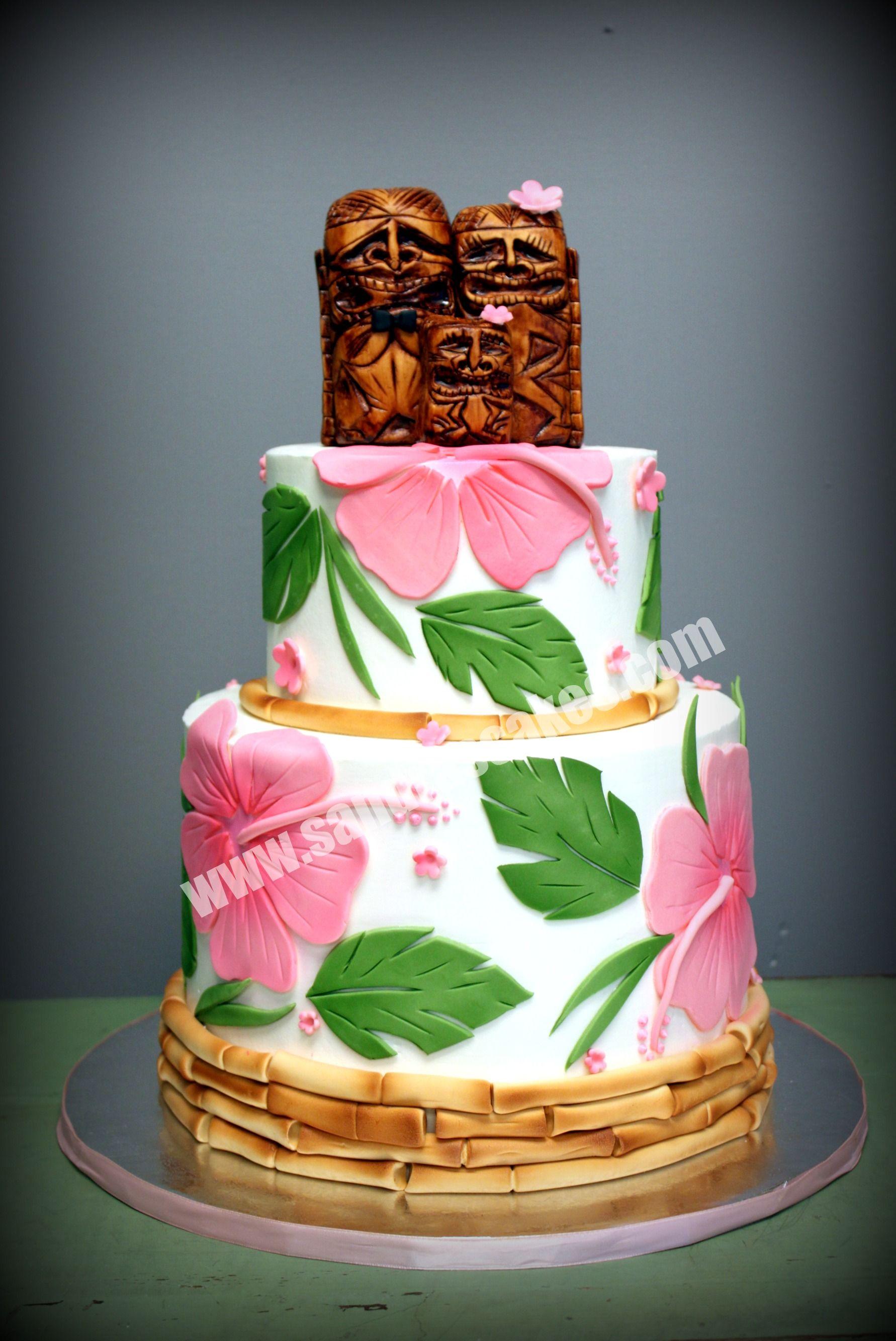 Hawaiian Theme Cake Decorating