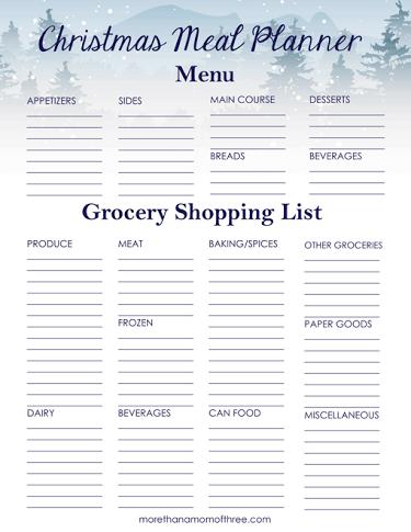 Christmas Meal Planner Printable More Than A Mom Of Three Christmas Meal Planner Christmas Food Dinner Dinner Planner