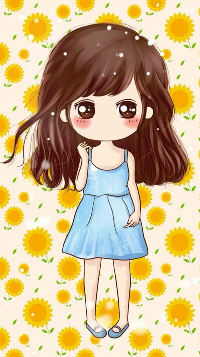 Lazy Day At Sunflower Background Cute Drawings Cartoon Girl Images Anime Art Girl