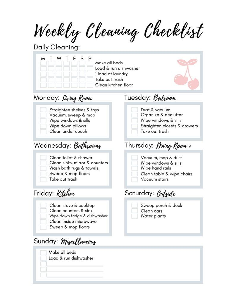 Customizable Weekly Cleaning Checklist Printable Cleaning Etsy In 2021 Weekly Cleaning Checklist Cleaning Checklist Printable Cleaning Checklist