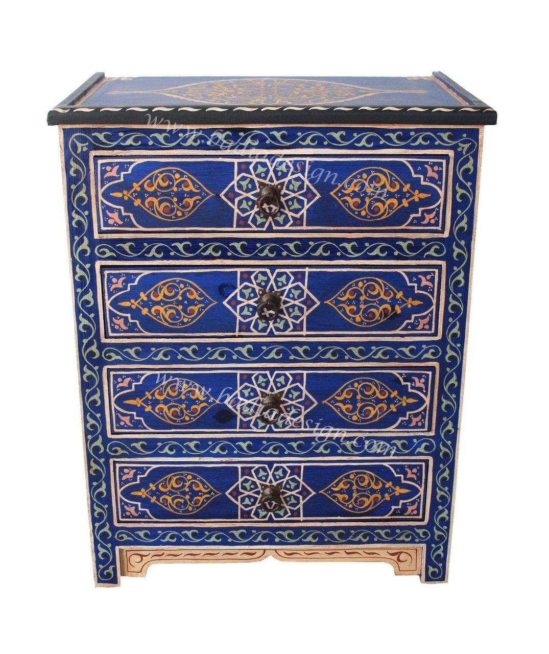 Hand Painted 4 Drawer Nightstand Imported From Morocco By Badia Design Inc Painted Night Stands Painted Bedside Tables Hand Painted Dressers