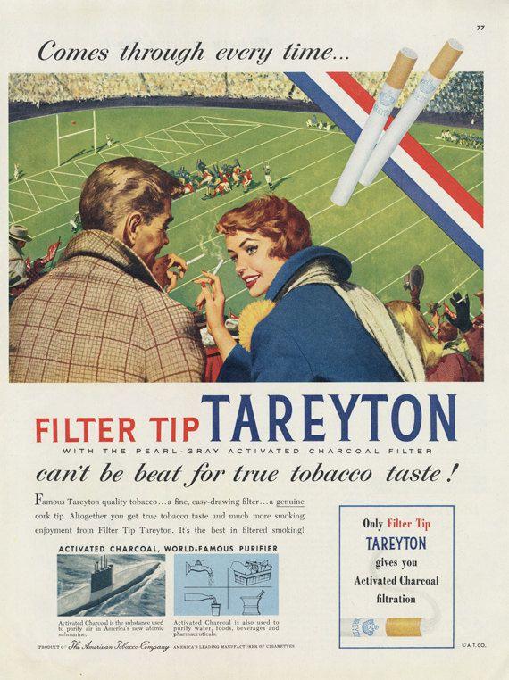 1955 Tareyton Cigarettes Ad 1950s Smoking Couple By AdVintageCom