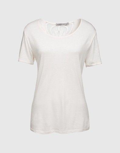 weisses t shirt damen mit spitzeneinsatz