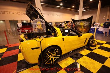This is Steve and Lou Ann Pond's 2007 Chevrolet Corvette show car. This custom Vette is named Tweety Bird. Their beautiful display is fun to see for old and young and has the awards to prove it! It is on display at the Corvette Chevy Expo in Houston, Texas.
