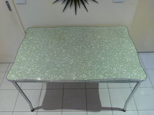 Green 6 Seater Retro Laminex Chrome Steel Dining Table 1950s Scolloped Edge