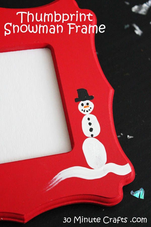 Simple Thumbprint Snowman Frame - Would be cute with a photo from each year.