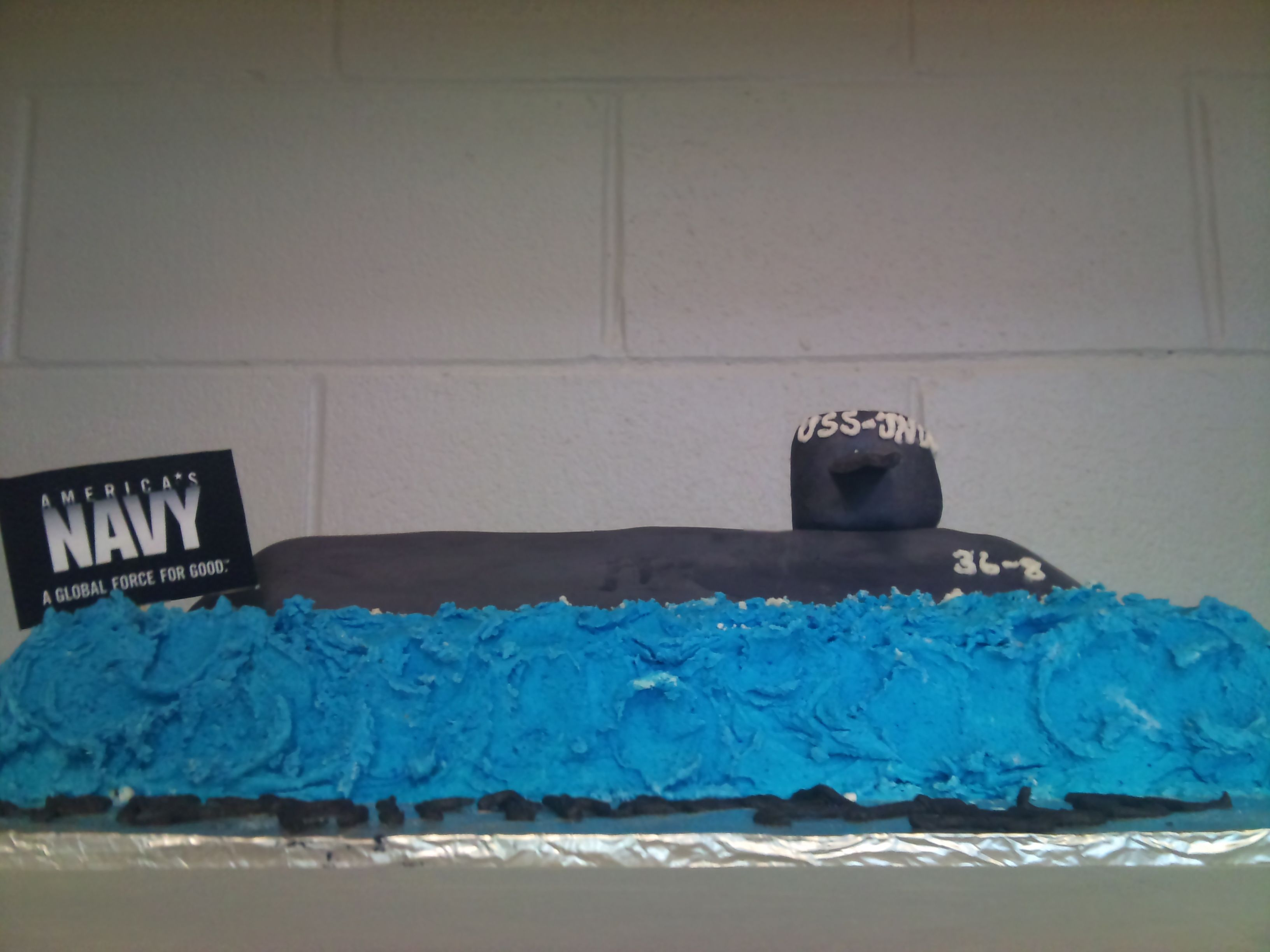 Fantastic Submarine Birthday Cake For Navy Birthday Party At The Funny Birthday Cards Online Inifodamsfinfo