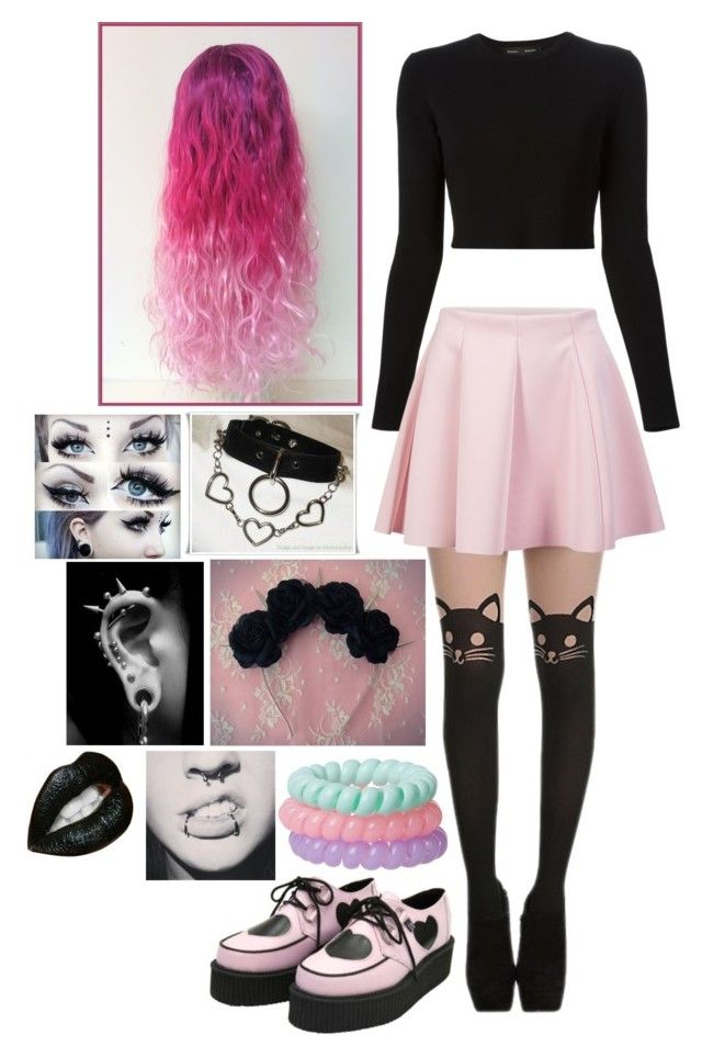 """pastel goth""kylaamador liked on polyvore featuring"