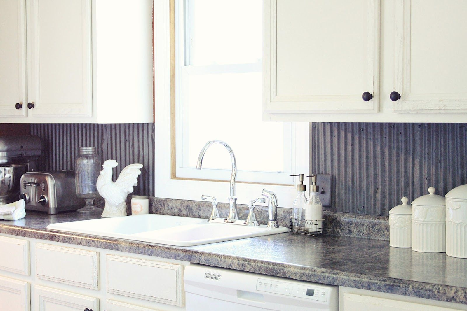Our Kitchen Makeover Tin Backsplash Kitchen Metallic Backsplash Kitchen Makeover