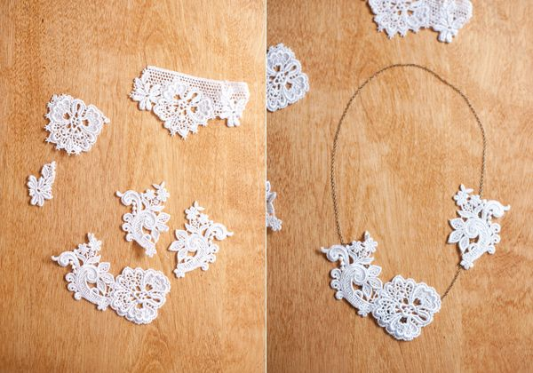 DIY Lace Necklace - I'm totally picking up lace on my next craft run!  and maybe some fun beads...new hobby found!