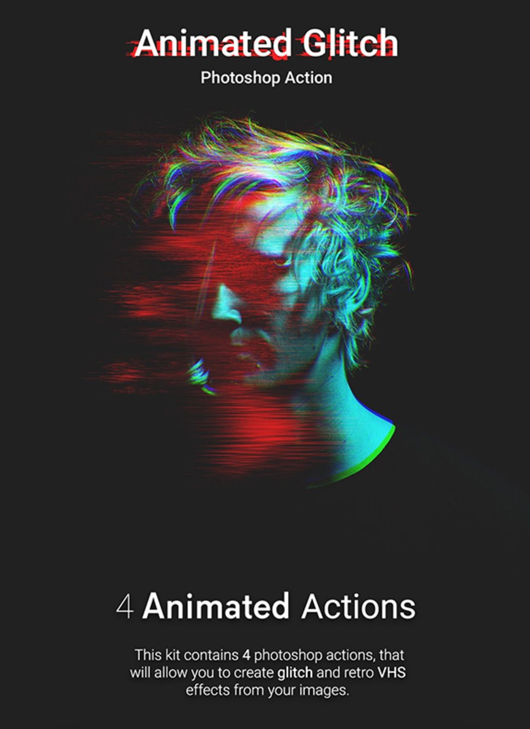 Animated #Glitch #effect #photoshop #action #animation #gif