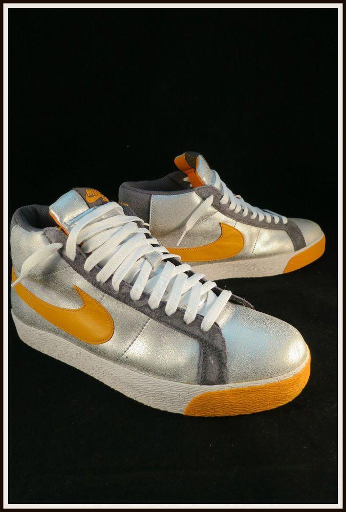 2007 Nike SB Blazer High Premium Independent Trucks Metallic Silver Orange 10.5  #Nike #Skateboarding