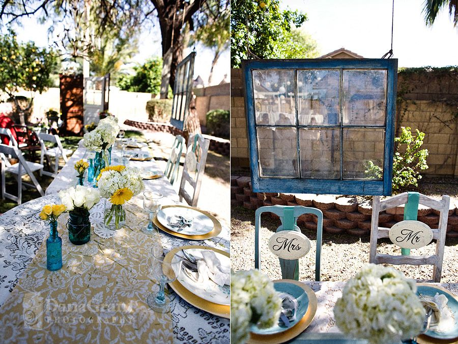 I think the window is awesome as well as the assorted vases on the table.  the labeled chairs are a super cute idea too, but I'm not sure that we will have a seated meal for the event.  Details pending I would think it is a way cute thing to do too.