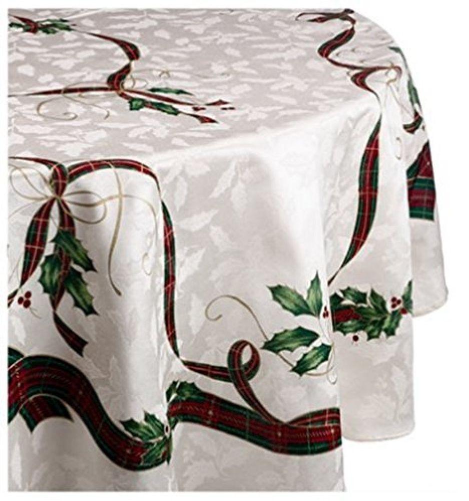 Christmast Tablecloth 60x84 Oval Ivory Holiday Nouveau Seasonal