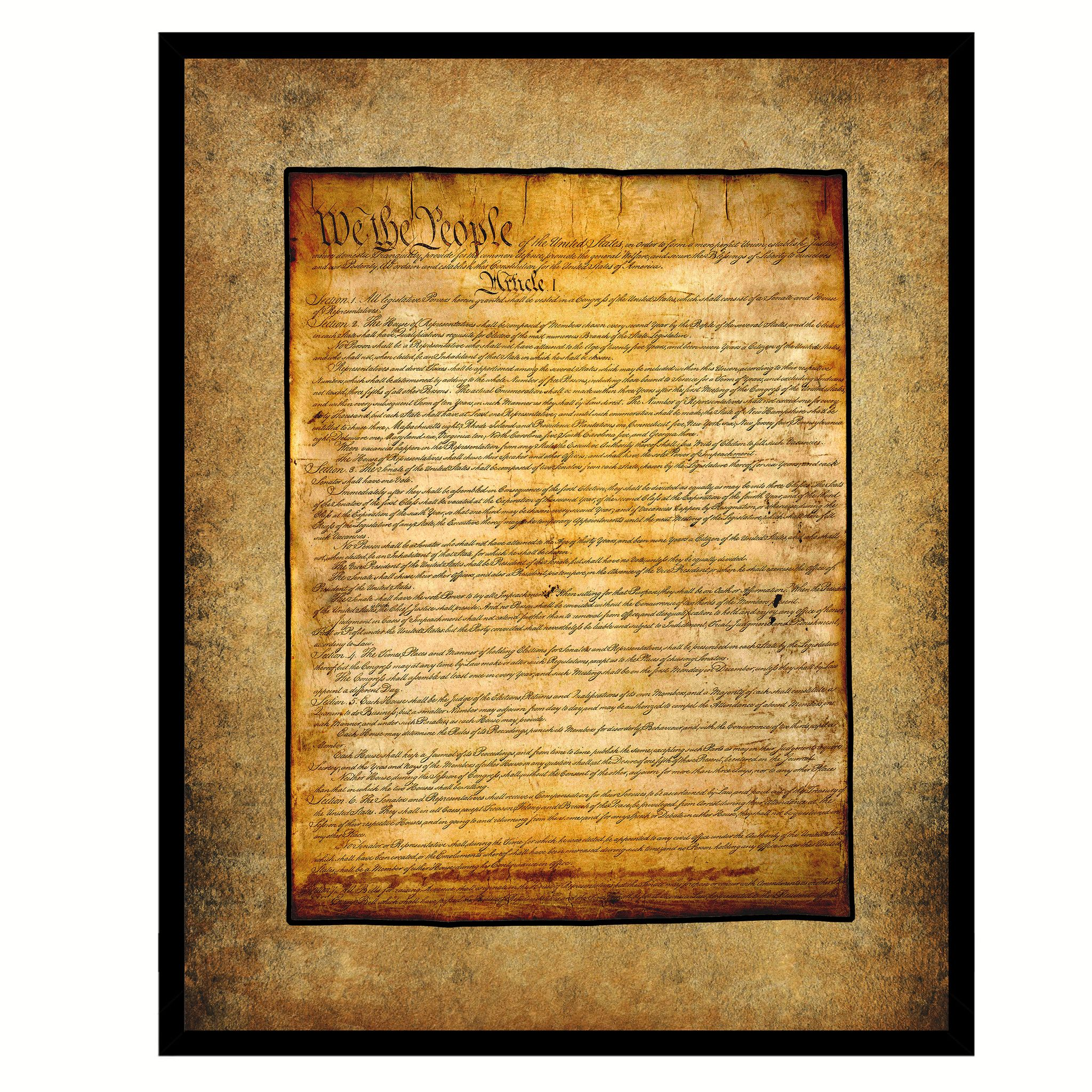 US Constitution We The People Framed Canvas Print Home Décor Wall ...
