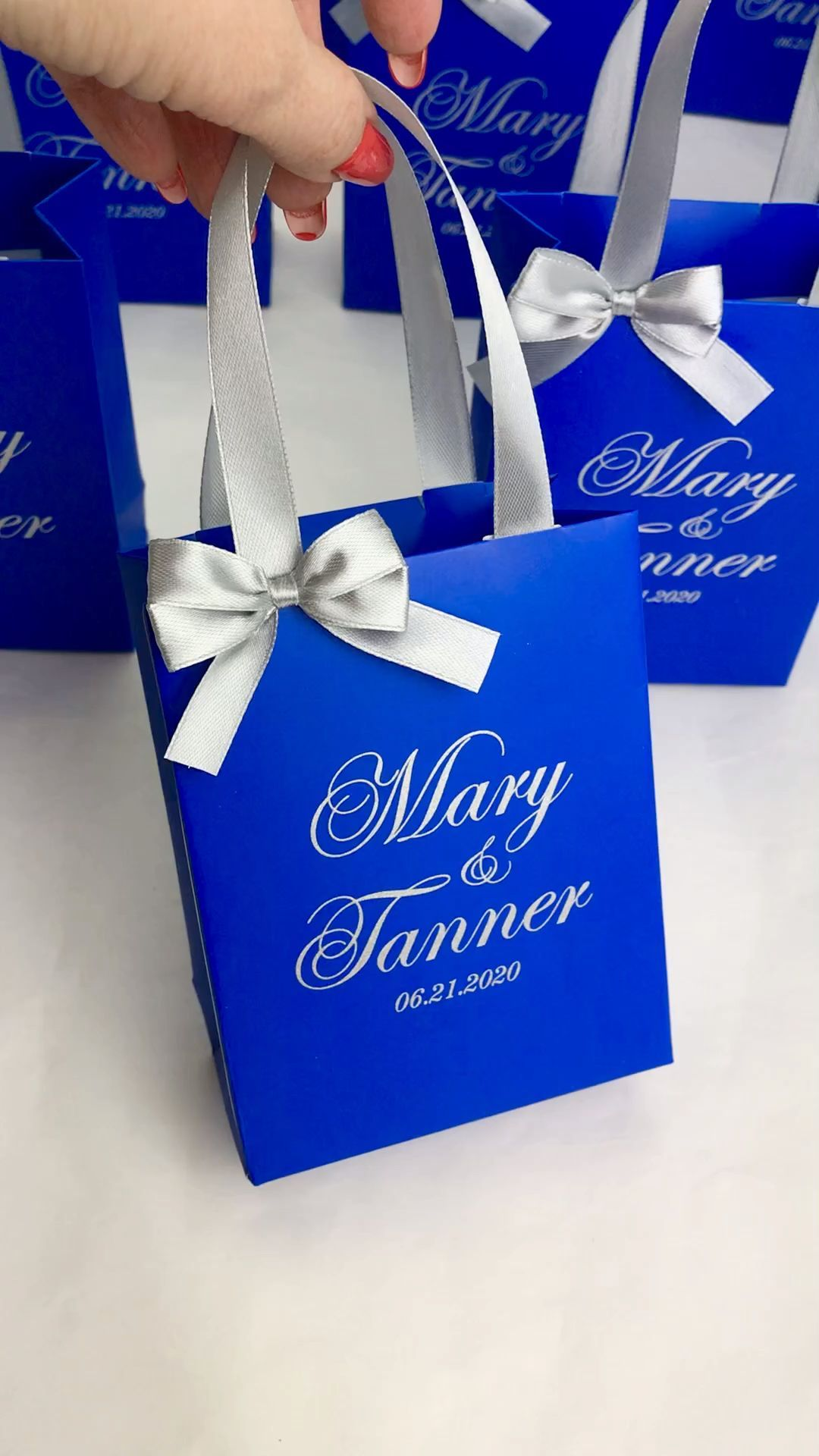 Royal blue & Silver wedding favor bags#bags #blue #favor #royal #silver #wedding