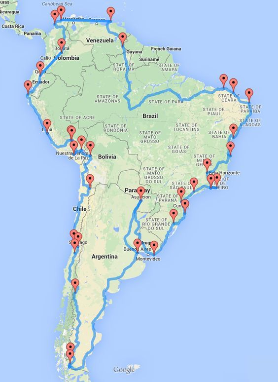 The South America Optimal Road Trip a trip with a nice mix between