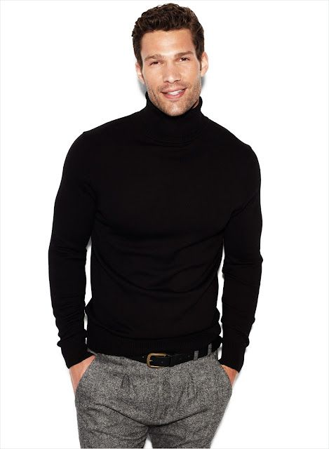 Classic Black Cashmere Turtleneck And Fitted Grey Tweed Pants