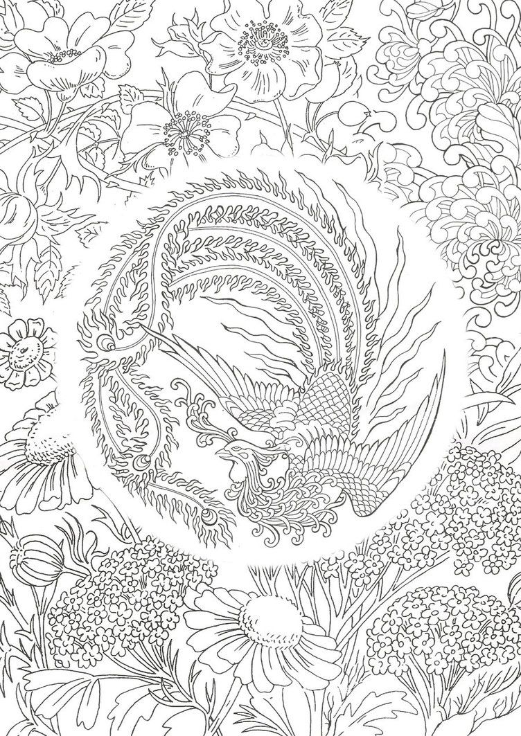 Phoenix Design By Erubadhron Deviantart Bird Coloring Pages Phoenix Design Coloring Books