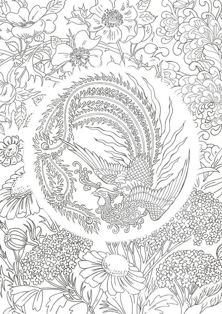 Phoenix Design By Erubadhron DeviantArt Coloring Books