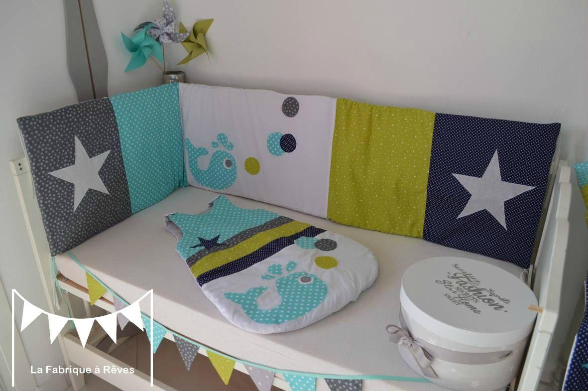 tour lit bébé 15 x 15 cms baleine étoiles vert anis bleu