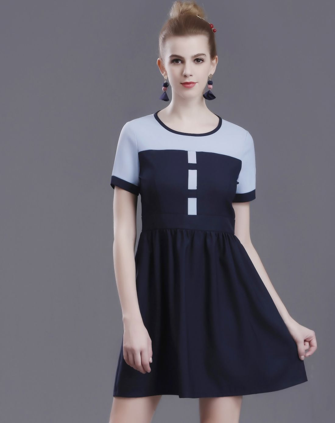 Adorewe vipme aline dressesdesigner qinyanzui blue colorblock