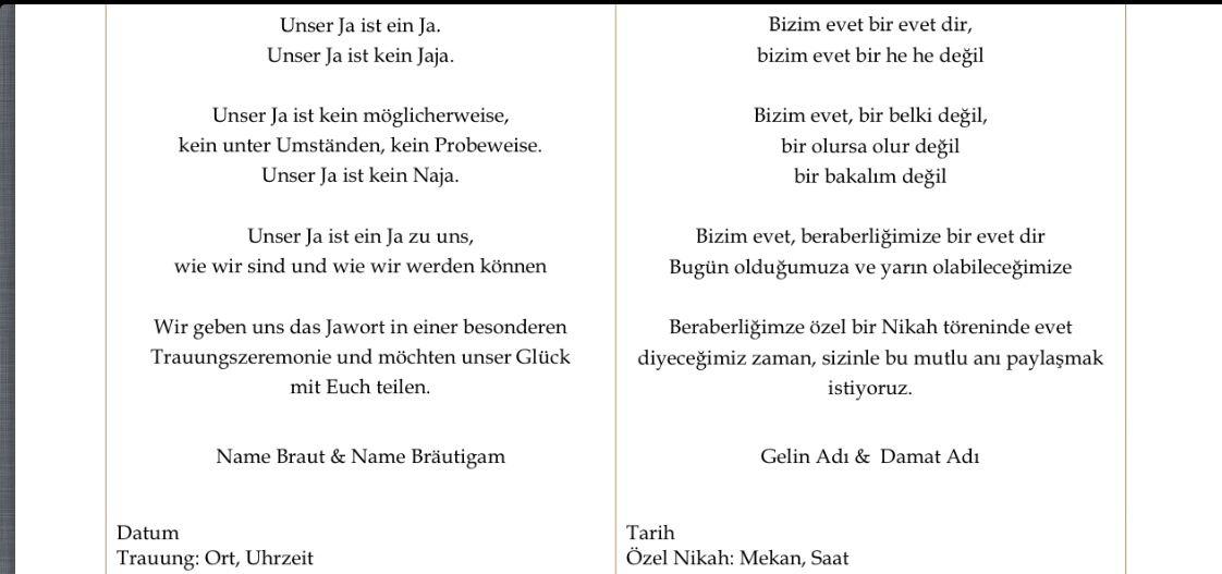 Einladung Turkisch Deutsch Turkische Hochzeit Einladungen Deutsch Turkisch