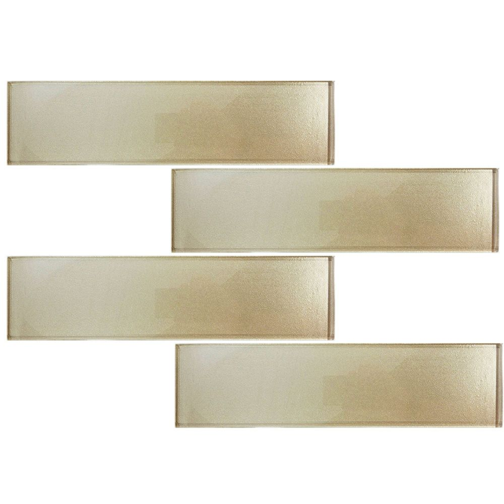"SAMPLE- Beige Cream Champagne Glass 3""x12"" Subway Mosaic Tile Backsplash Kitchen #Unbranded"