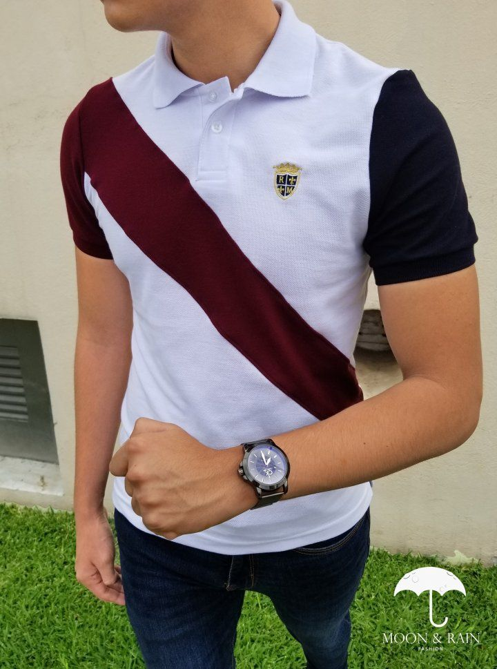 Playera Polo Slim Fit Blanca Franja Vino Escudo RM