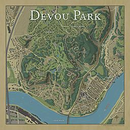 Devou Park, top down view of neighborhood park and
