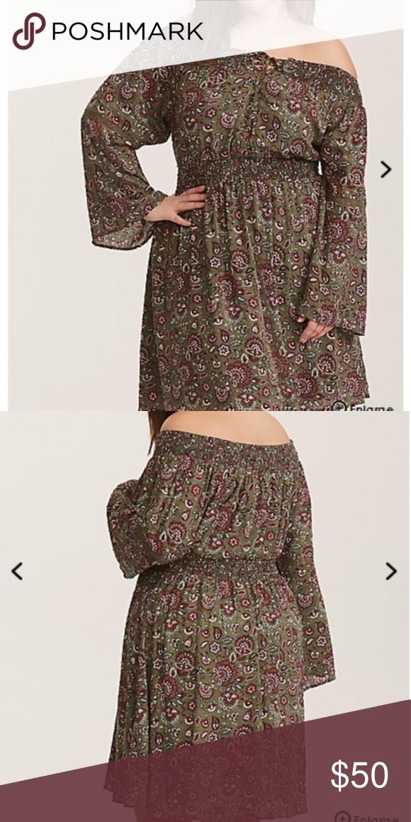 ead0e9fdfaa Torrid women plus size 1X olive floral dress Torrid women plus size 1X  olive floral off shoulder lace up dress