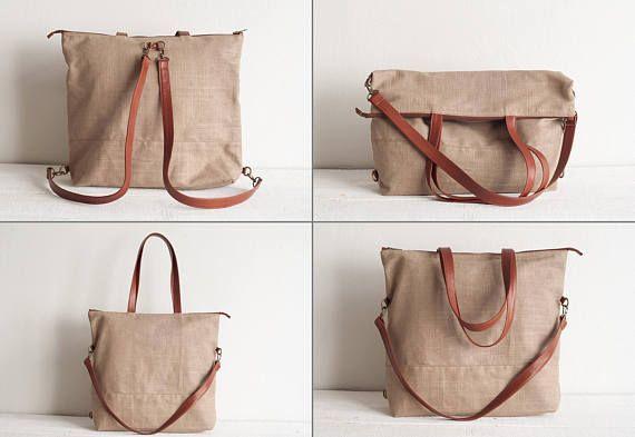 Convertible Backpack Denim Leather Tote Bag Handbag Messenger B