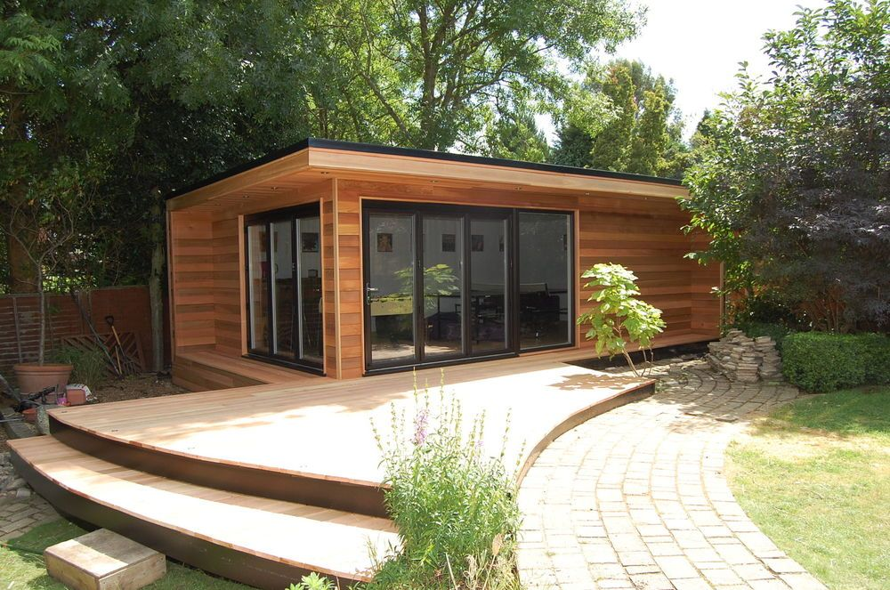 7m x 4m cedar garden office garden studio summerhouse for Wooden studios for gardens
