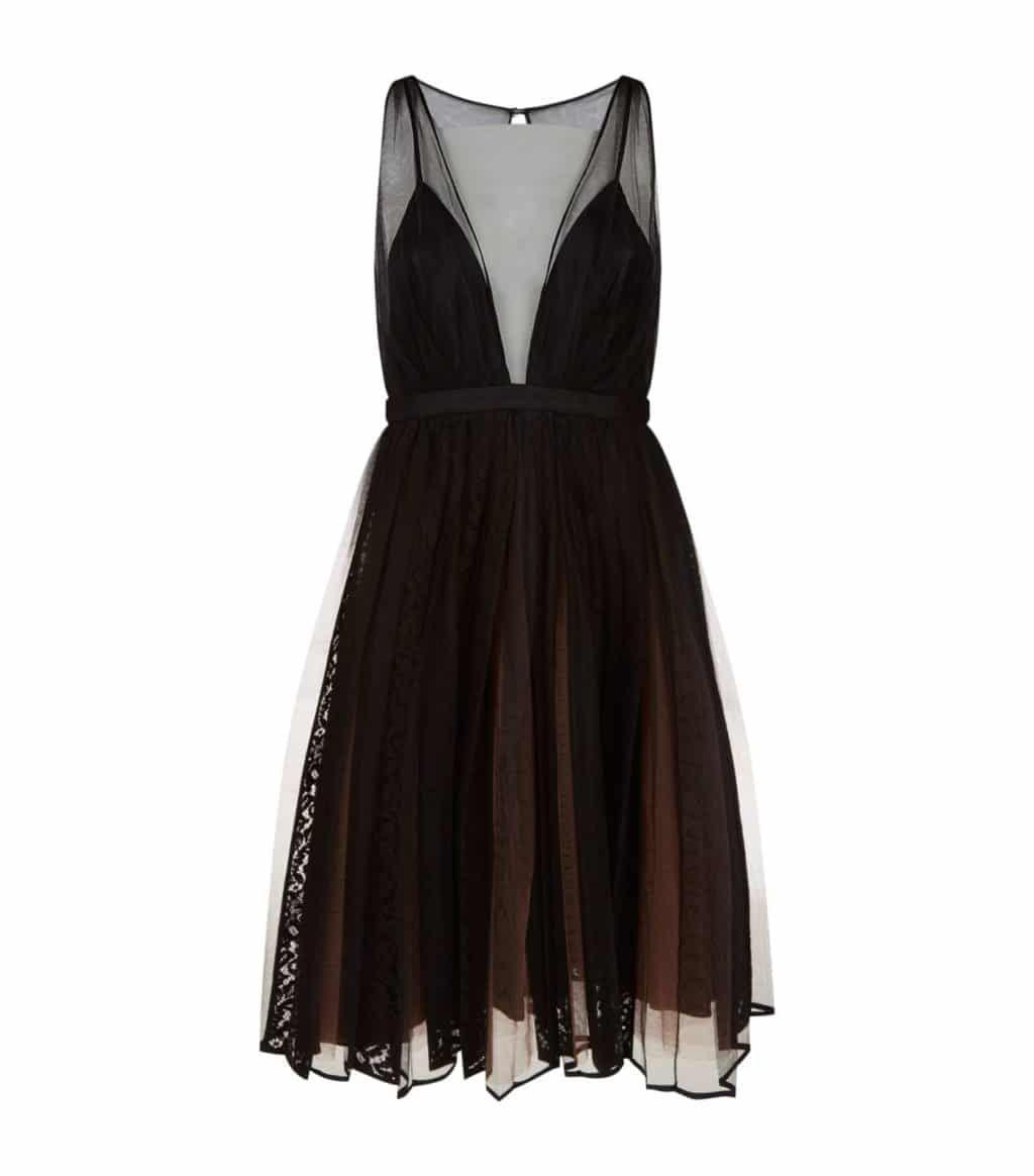 No 21 Tulle Black Dress We Select Dresses In 2021 Embellished Cocktail Dress Sheer Midi Dress Plunging Neckline Cocktail Dress [ 1164 x 1024 Pixel ]