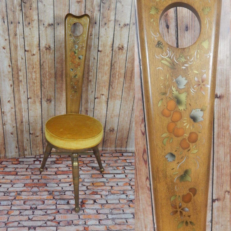 Three Legged Pouting Chair In Oak Rare Hand Painted