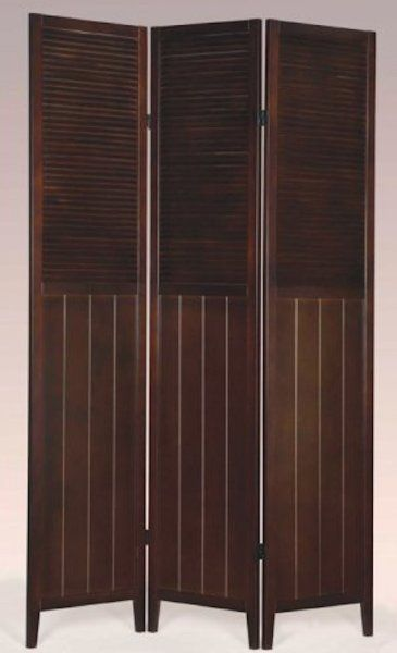 3 Panel Solid Wood Screen Room Divider Blinds Shades: 3 Panel Espresso Wood Shoji