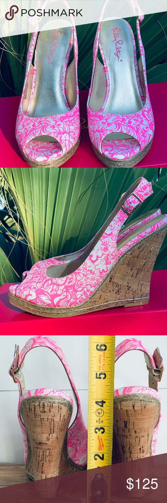 Lilly Pulitzer Krisie Wedge Pink Tropics 8M NWT Features Color Pink Tropics #696 Style #827 Leather upper, man made outsole Bottom of soles have fun sanddollar pattern Comes with signature Lilly Pulitzer pink shoe box  Condition - NWT  Measurements Size 8M Heel Height 4