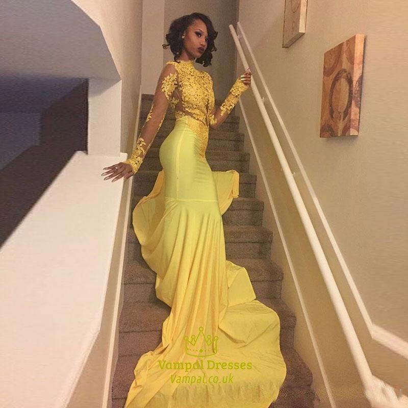 1edf031d5038 Yellow Illusion Long Sleeve Lace Bodice Chiffon Prom Dress With Train |  Vampal Dresses Black Girl