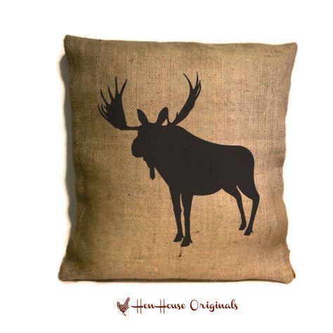 Moose Pillow Cover Hunting Rustic Home Decor Cabin Silhouette