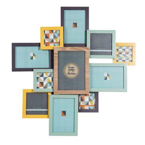 cadre photo 11 vues en bois multicolore vintage corner | maisons
