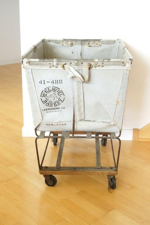 Vintage Canvas Rolling Laundry Cart C 1950s Laundry Cart