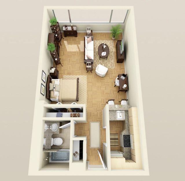 Resultado de imagen de microapartamento con baño y cocina